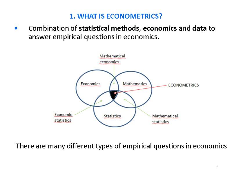 1 What is Econometrics? Steps in Empirical Economic